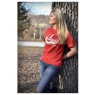 Women's Ball Cancer Sucks Red Logo T
